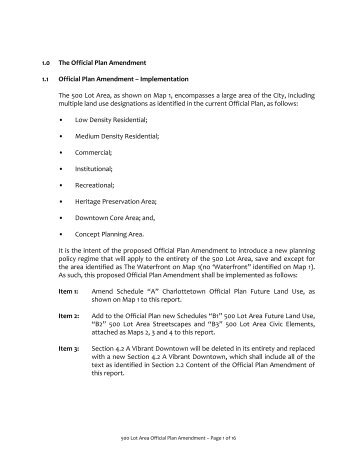 Official Plan Proposed Changes - City of Charlottetown