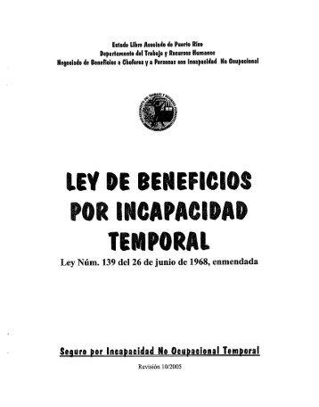 Ley número 139 Ley de Beneficios por Incapacidad Temporal - SINOT