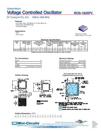 ROS-1605PV Voltage Controlled Oscillator