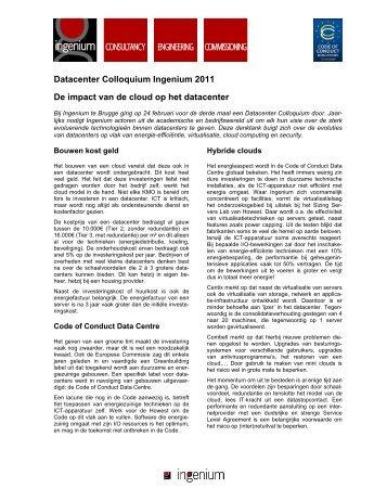 Datacenter Colloquium Ingenium 2011 De impact van ... - Architectura