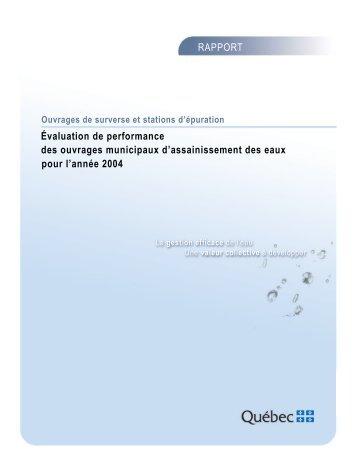 Évaluation de performance des ouvrages municipaux d ...