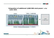 Integration of additional 3,000 MW wind power– a for