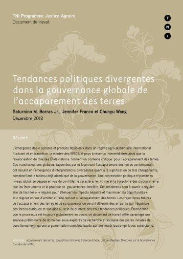 Tendances politiques divergentes dans la gouvernance globale de l ...