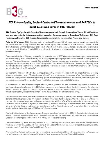 Press Release B3G. 02 01 06 - Axa Private Equity