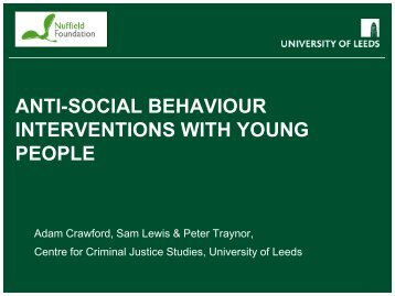 anti-social behaviour interventions with young people - School of Law