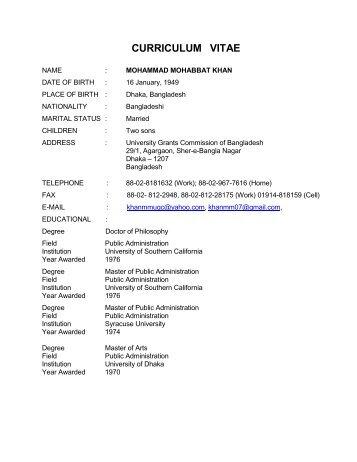 resume university grants commission of bangladesh