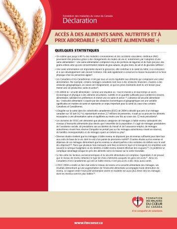 Déclaration - Fondation des maladies du coeur du Canada