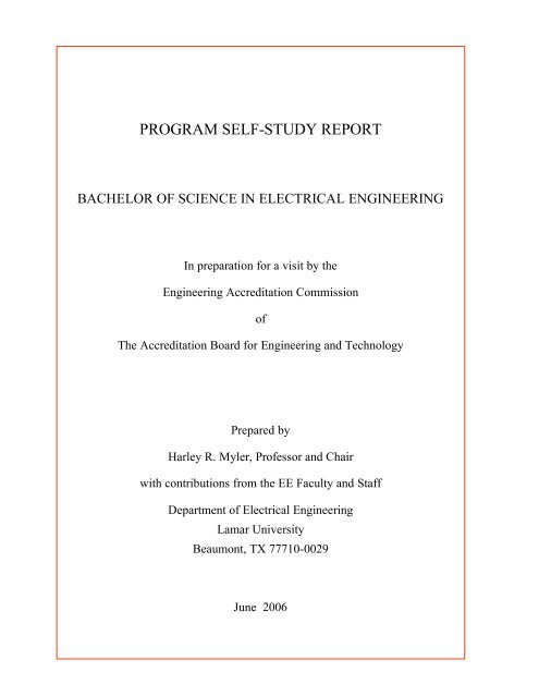 program self-study report - Lamar University Electrical Engineering