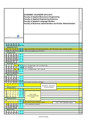 ACADEMIC CALENDER 2012-2013 Faculty of Applied Bioscience ...