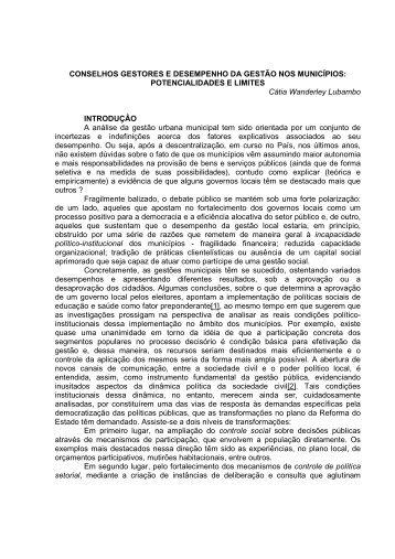 conselhos gestores e desempenho da gestão ... - Empreende.org.br