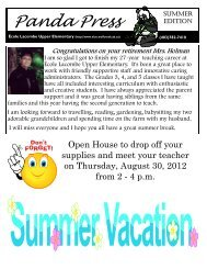 Download the newsletter - Ecole Lacombe Upper Elementary School