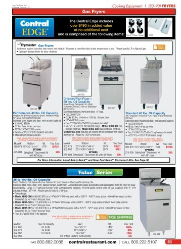 Fryers - Central Restaurant Products