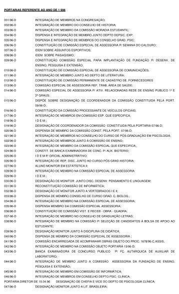 Portarias 1996 - UNESP-Assis