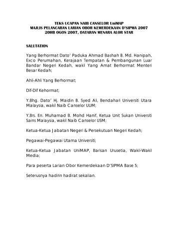 TEKS UCAPAN NAIB CANSELOR UniMAP - Universiti Malaysia Perlis