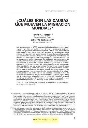 ¿cuáles son las causas que mueven la migración mundial?