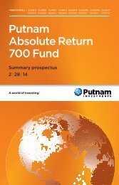 Absolute Return 700 Fund Summary Prospectus - Putnam Investments