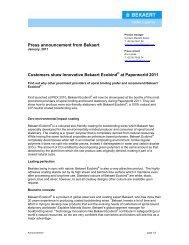 Press announcement from Bekaert Customers show Innovative ...