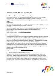 Informatie vanuit de MBO Raad, november 2011