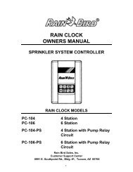 Rain Bird PC-100 Series Rain Clock Owner's Manual - Irrigation Direct