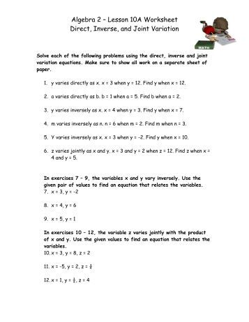 Printables Algebra 2 Lessons And Worksheets direct variation equations ex algebra 2 lesson 10a worksheet inverse and joint variation
