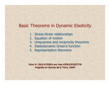 Basic Theorems in Dynamic Elasticity - UNAM