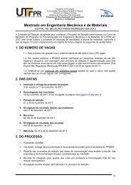 Mestrado em Engenharia Mecânica e de Materiais - PPGEM - UTFPR