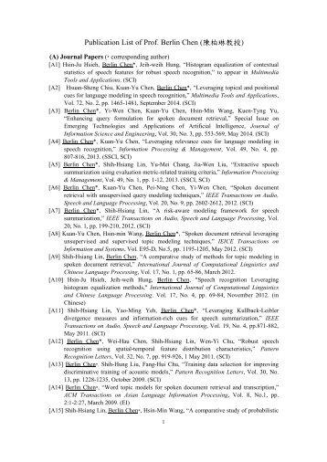 Publication List of Prof. Berlin Chen (陳柏琳教授)
