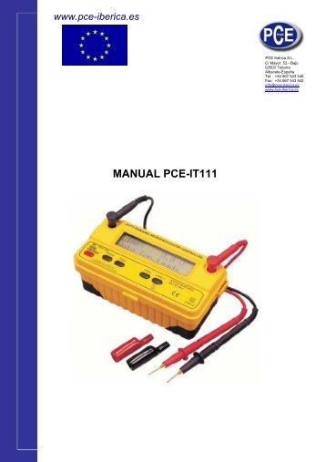 MANUAL PCE-IT111 - PCE Ibérica