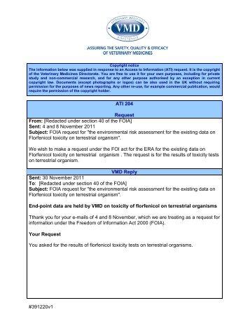 ATI 204 - Veterinary Medicines Directorate - Defra