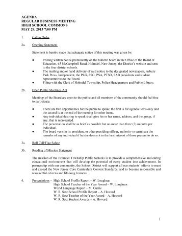 agenda regular business meeting high school commons ... - Holmdel
