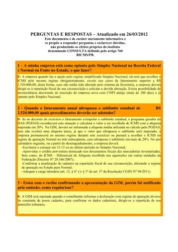 Perguntas e Respostas - Secretaria de Estado da receita