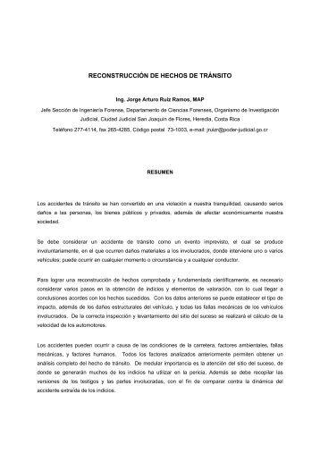 RECONSTRUCCIÓN DE HECHOS DE TRÁNSITO