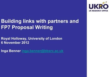 Partner Finding & SMEs - Royal Holloway, University of London