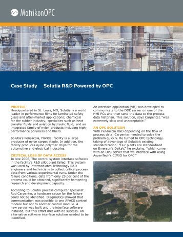 Case Study Solutia R&D Powered by OPC - Automation.com