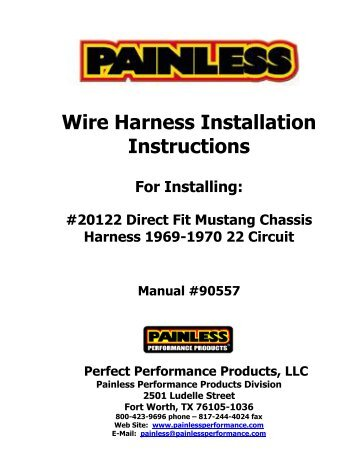 Wiring Harness Installation Instructions on safety harness installation, ignition coil installation, timing chain installation, generator installation, power supply installation, radio installation,
