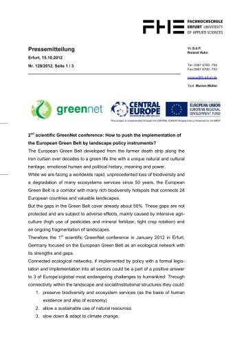 Press Release - GreenNet Project