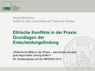 Ethische Konflikte in der Praxis - Institut für Ethik, Geschichte und ...