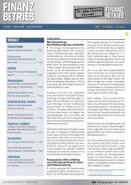 FINANZ BETRIEB Newsletter - CORPORATE FINANCE fachportal