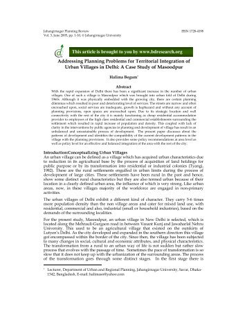 Addressing Planning Problems for Territorial Integration of Urban ...