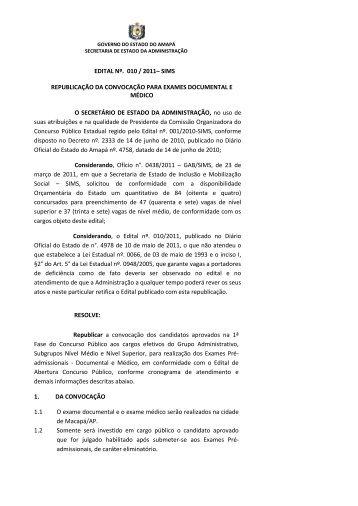 edital nº. 010 / 2011– sims republicação da convocação para ...