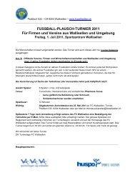 FUSSBALL-PLAUSCH-TURNIER 2011 Für Firmen und Vereine aus ...