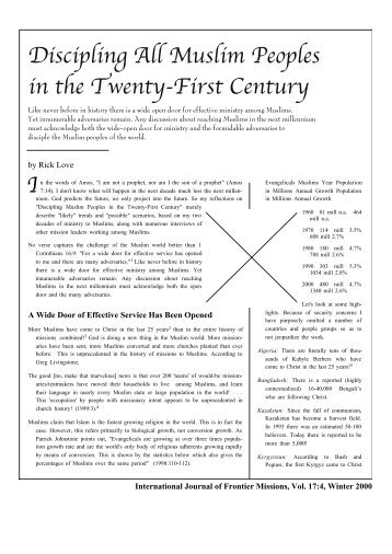 Discipling All Muslim Peoples in the Twenty-First Century