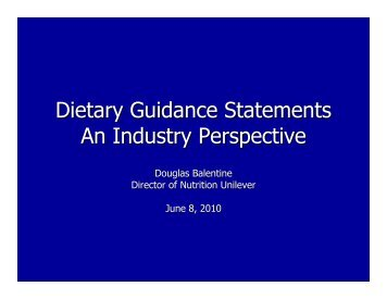 Dietary Guidance Statements An Industry Perspective