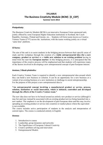 The Business Creativity Module (BCM) [E_CEP]