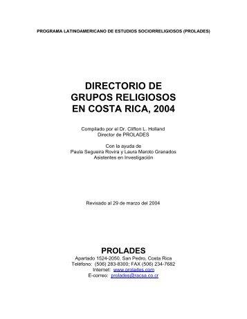 Directorio de Grupos Religiosos en Costa Rica, 2004