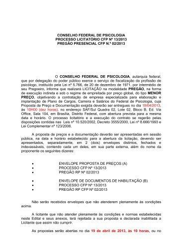 conselho federal de psicologia processo licitatório cfp nº 13/2013 ...