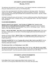 STUDENT ANNOUNCEMENTS Monday, 9-13-10 STUDENT ...