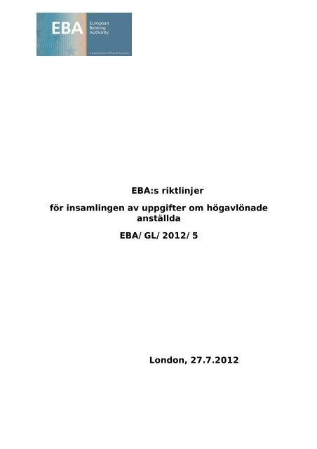EBA:s riktlinjer för insamlingen av uppgifter om ... - Europa