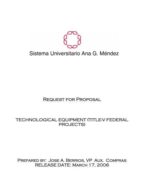 Request for Proposal - Sistema Universitario Ana G. Mendez