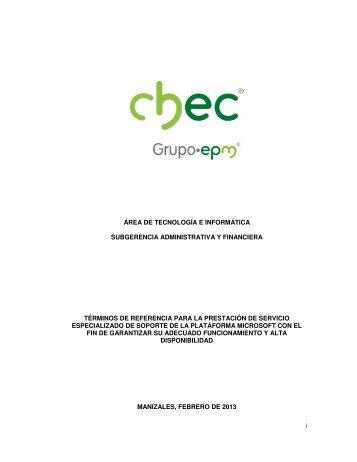 área de tecnología e informática subgerencia administrativa ... - Chec